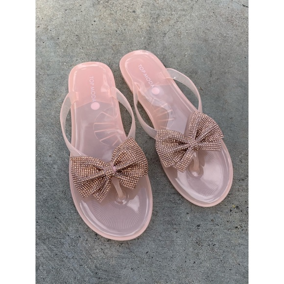 TOP Moda Shoes - Jelly Gummy PInk Rose Gold Bow Glitter Sandals